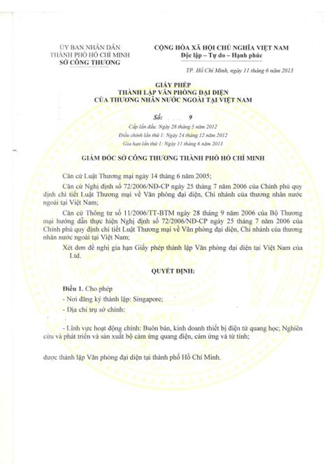 Thủ tục gia hạn giấy phép văn phòng đại diện thương nhân nước ngoài
