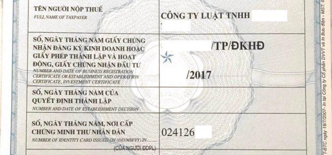 Thủ tục đăng ký mã số thuế cho công ty luật, VPLS, công chứng, thừa phát lại